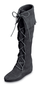 Minnetonka Moccasin Men's Black Suede Front Lace Hardsole Knee Hi Boot