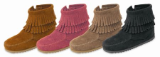 Minnetonka Children's Side Zip Double Fringe Suede Boot