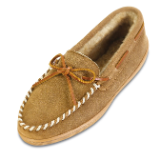 Minnetonka Moccasin Men's Golden Tan Sheepskin Hardsole Moccasin