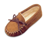 Minnetonka Moccasin Children's Brown Suede Pile Lined Slipper