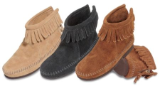Minnetonka Moccasin Children's Brown Suede Hardsole Back Zipper Boot