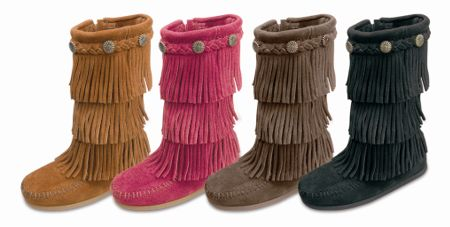 Moccasin Children's 3 Layer Suede Fringe Boot