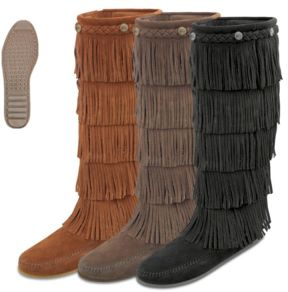 Moccasin Women's 5-Layer Fringe Boot