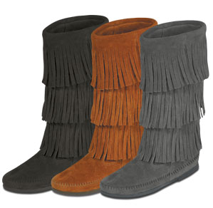 Moccasin Women's Calf Hi 3-Layer Fringe Boot